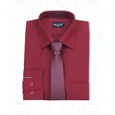MEN'S & BOYS FORMAL BURGUNDY SHIRT AND TIE SET WEDDING PROM SUIT SMART SHIRT