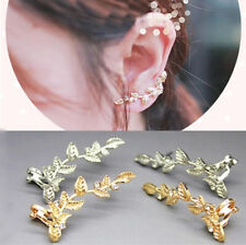 Elegant Fashion Women Lady Girls Gold Silver Plated Leaf Ear Studs Earrings Clip