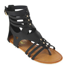 Reneeze AC71 Women's Back Zipper Strappy Cut Out Studded Gladiator Flat Sandals