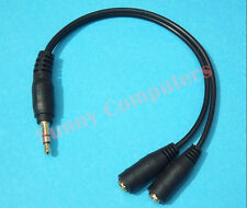 2x 3.5mm Audio AUX Y Splitter Cable Male to 2 Female Adapter for Earphone Heads