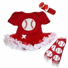 Baseball Sports Red Cotton Bodysuit Red White Girls Baby Dress Leg Warmer NB-18M