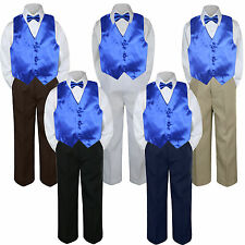 4pc Royal Blue Vest  Bow Tie Suit Pants Set Baby Boy Toddler Kid Uniform S-7