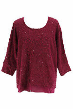 INC Internional Concepts Womens Scoop Neck Sweater - Solid Purple Polyester