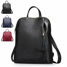 Fashion Grid Grain Leather Backpack Women Weekend Hiking Knapsack Rucksack