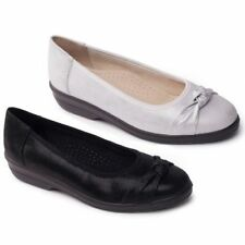 Padders FIONA Ladies Womens Leather Wide Comfort Flat Ballet Pumps Black/Silver