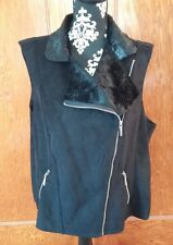 Michael Kors Womens Biker Vest Black Faux suede faux Seal fur NWT plus sizes