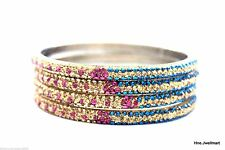 Indian Handmade Bling Lac Crystal Fuchsia Gold Blue Zircon Bracelets Bangles 8ss