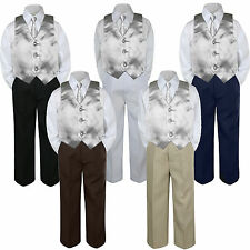 4pc Silver Vest & Tie  Suit Set Baby Boy Toddler Kid Uniform S-7