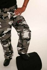 """Grey Camo Camouflage Waterproof Armoured Vented Motorcycle Thermal Trousers 30"""""""
