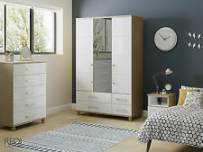 READY ASSEMBLED New Roma High Gloss 5 Drawer Tall Large Chest of Drawers