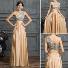 Beaded 1 Shoulder Long Chiffon Bridesmaid Evening Prom Dress Cocktail Party Gown
