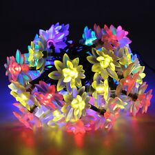 Solar Powered 7M 50LED Multi Colours String Fairy Lights Lotus Outdoor Garden