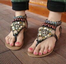 Fashion Boho Summer Womens Flat Ethnic Colorful Bead Thong Flip Flops Sandals
