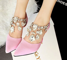 Sexy Rhinestone Pointed Toe High Heels Shallow Sandal Women Fashion Wedding Shoe
