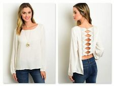 BOHO IVORY OPEN CROCHET BACK SHIRT (S, M, L)