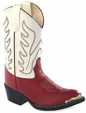 Girls Old West Faux Leather Red & White Pageant/Halloween Costume Cowgirl Boots