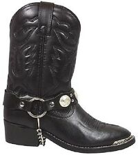 Kid's Black Faux Leather Concho Harness Western Style Cowboy/Cowgirl Boots