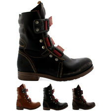 Ladies Fly London Stif Low Heel Buckle Army Biker Leather Ankle Boots All Sizes
