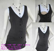 STACY Maternity Clothing  Nursing Tank Tops Breastfeeding Shirt GREYW Singlet