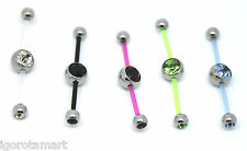 1X New PTFE 2 Two Way Double Piercing Gem Belly Navel Bar UK Post