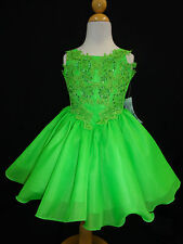 New Baby Girl National Pageant Wedding Formal Party Dress Lime size 5-7 year-old