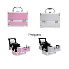 Fashion Cosmetic Makeup Aluminum Train Jewelry Lockable Organizer Beauty Bag