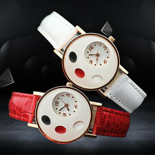 Girl's Trendy Ellipse Love Heart Faux Leather Band Quartz Student Wrist Watch