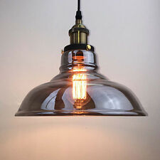Antique Vintage Industrial Grey Glass Shade Pendant Lamp Ceiling Light Fixture