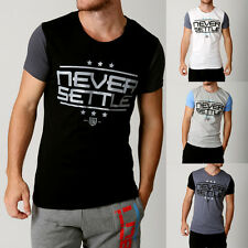 Mens NEVER SETTLE CONTRAST Tshirts Gym Tees Designer Threads Swag