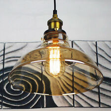 Antique Vintage Industrial Amber Glass Shade Pendant Lamp Ceiling Light Fixture