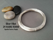 24 or 26 Gauge Round Silver Filled (Brass Core) Jewelry Wire- Dead Soft -10 feet