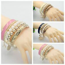 Women Cuff Bangle Crystal Fashion Colors Pearl Beads Multilayer Charm Bracelet