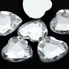 100 x 8mm/10mm Crystal clear flat back rhinestone diamante heart gems/cardmaking