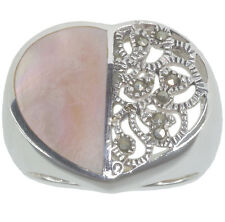 Mother Of Pearl and Marcasite Heart Design Sterling Silver Ring