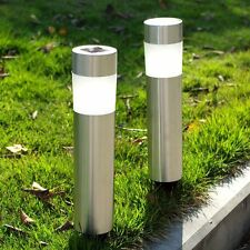 Solar LED Outdoor Lights Lawn Garden Landscape Path Stainless Steel Spot Lamp