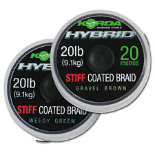 KORDA HYBRID STIFF COATED BRAID CARP FISHING WEEDY GREEN, GRAVEL BROWN 20M 20LB