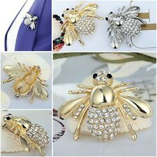 Huge Gold / Silver Crystal Rhinestone Little Bee Pin Brooch Insect Brooch Pin