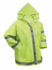 Security Crossing Guard Police Traffic Neon Green Reflective Rain Coat Jacket