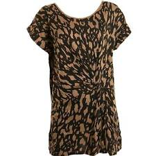 Janique Ladies Animal Print Boat Neck Long Twist Front Jersey Tunic Top Viscose