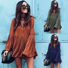 New Women Sexy V Neck Long Sleeve Long Blouse Loose Top Pleated Mini Dress S-XL