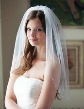 One Layer Bead Edge Wedding Veil Elbow Length Bridal Accessories Veils with Comb
