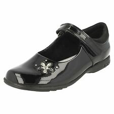 Clarks 'Trixie Candy' Black Patent Leather Velcro Light Up School Shoes H Fit