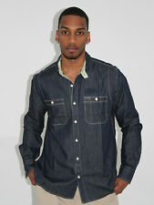 MENS PEPE JEANS LONDON PLAIN LONG SLEEVE BUTTON UP SHIRT - DARK DENIM M MEDIUM