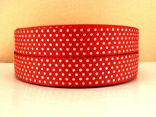 2 Yards Red Silver Polka Dots Grosgrain Ribbon 7/8 Inch 22mm