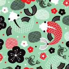 Koi Fish in green craft  Spoonflower fabric by the yard in a variety of cotton