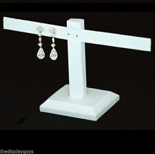 White Leatherette 4 Pair of Earring Jewelry Display T Bar