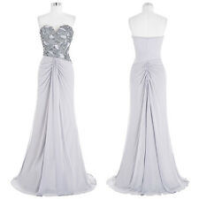 Chiffon Ball Gown Evening Prom Party Dress Formal Long Pleated Grey Bridesmaids
