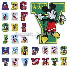 Mickey Mouse Cartoon Letter A-Z Embroidered Applique Iron On Sew Patch Accessory