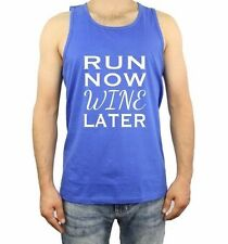 Tank Top Men's T Shirt Run Now Wine Later S Fitness S Gym Workout Tops Funny Tee