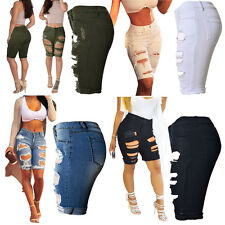 Womens Ripped Distressed Denim Knee Length Shorts Jeans Boyfriend Jeans